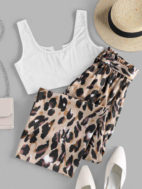 new ZAFUL V Cut Leopard Wide Leg Paperbag Pants Set - WHITE M Mobile