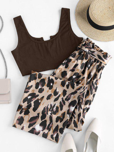 shops ZAFUL V Cut Leopard Wide Leg Paperbag Pants Set - DEEP COFFEE XL Mobile