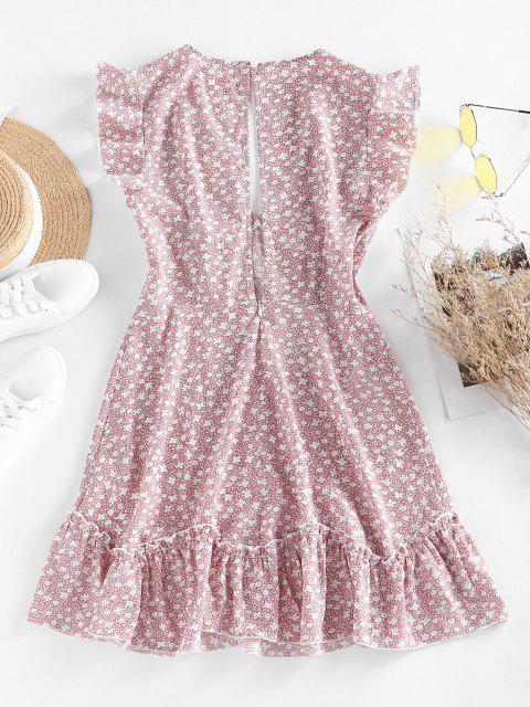 ZAFUL Mini Vestido con Volantes y Estampado de Flor - Rosa claro XL Mobile