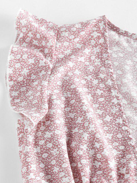 unique ZAFUL Ditsy Print Ruffle Plunging Mini Dress - LIGHT PINK M Mobile