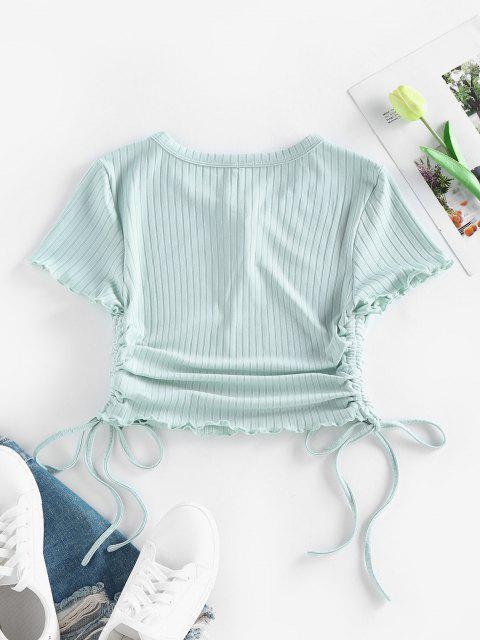 shops ZAFUL Ribbed Cinched Lettuce Trim Henley T Shirt - LIGHT GREEN M Mobile