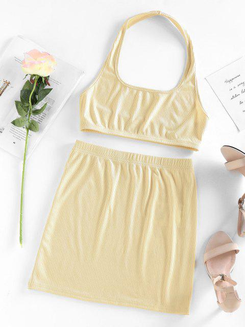 new ZAFUL Halter Ribbed Backless Crop Top and Mini Skirt Set - LIGHT YELLOW M Mobile