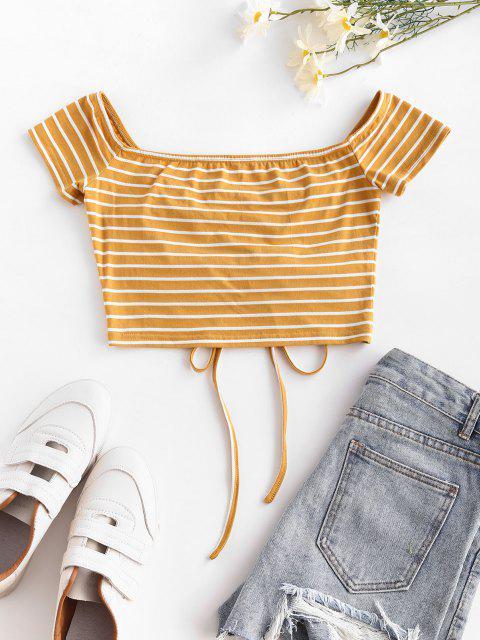 ZAFUL Anliegende Gestreiftes Kurzes T-Shirt - Gelb S Mobile