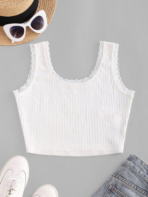 ZAFUL Ribbed Eyelash Lace Cropped Tank Top - أبيض S Mobile