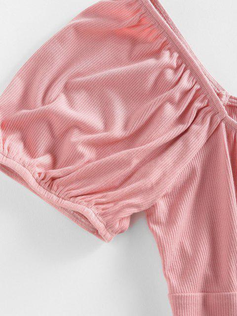 online ZAFUL Ribbed Mock Button Puff Sleeve Crop T Shirt - LIGHT PINK M Mobile
