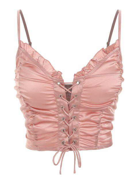 latest ZAFUL Ruched Lace Up Smocked Crop Top - ROSE M Mobile