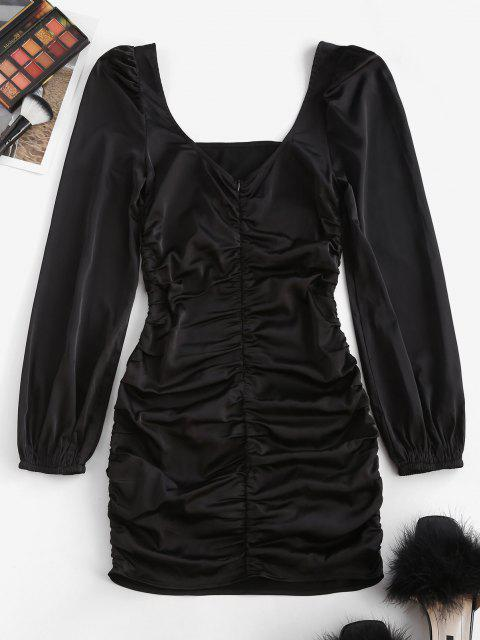 unique ZAFUL Ruched Square Neck Puff Sleeve Bodycon Dress - BLACK M Mobile