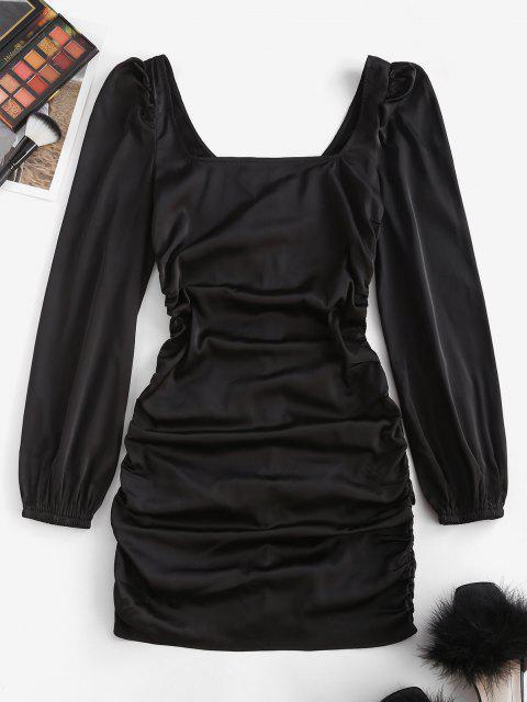 ZAFUL Bodycon Kleid mit Quadratischem Ausschnitt und Rüschen - Schwarz S Mobile