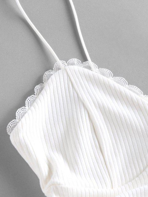 women's ZAFUL Ribbed Lace Insert Cinched Crop Camisole - WHITE S Mobile