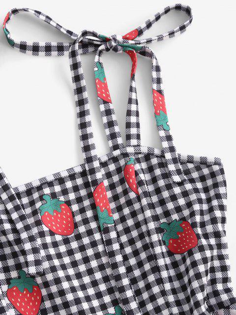 ZAFUL Gingham Erdbeere Druck Krawatte Schulter Minikleid - Schwarz S Mobile