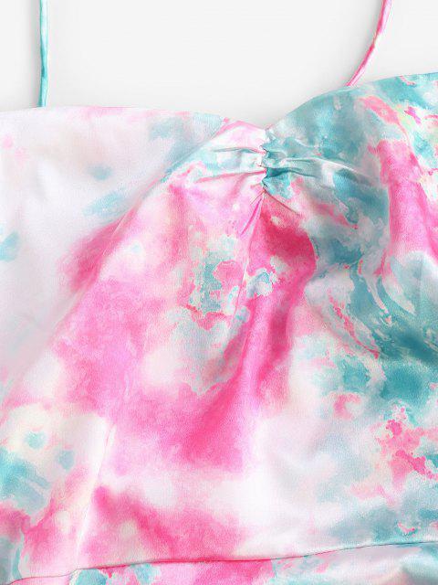 shops ZAFUL Asymmetric Tie Dye Cinched Midi Dress - MULTI-A L Mobile