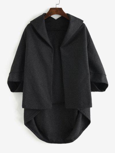 Open Front Tunic Cape Coat - Dark Gray M
