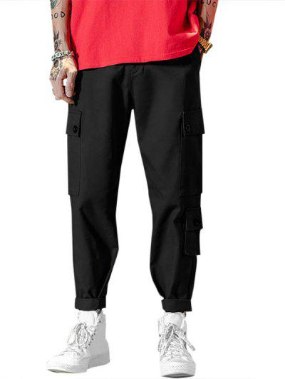 Pocket Decoration Zipper Fly Casual Pants - Black L
