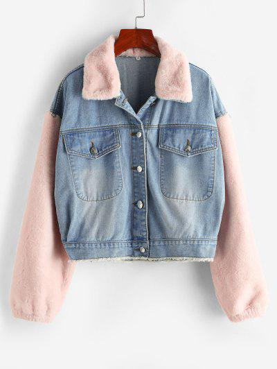 Frayed Faux Fur Panel Combo Denim Jacket - Blue Gray S