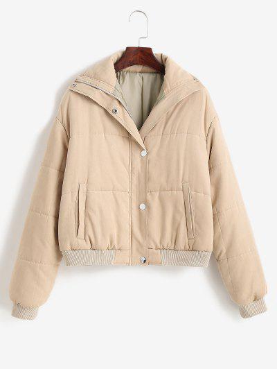 ZAFUL Padded Snap Button Zip Pocket Puffer Coat - Light Khaki M