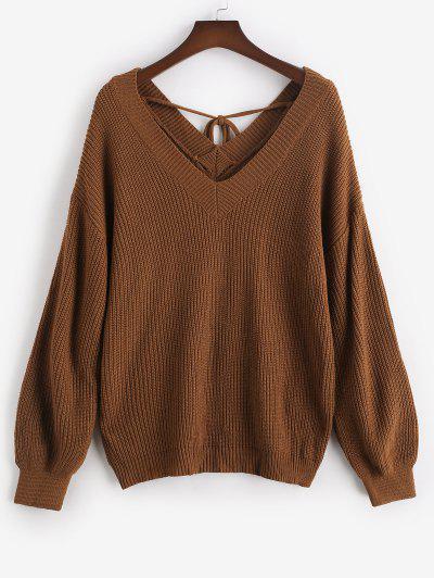 ZAFUL Plus Size V Neck Tie Back Sweater - Deep Coffee 3xl