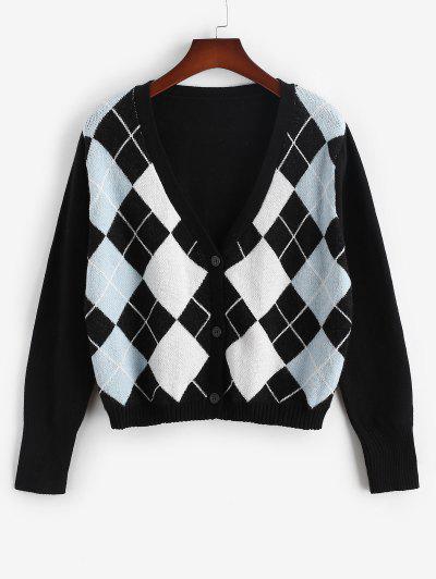ZAFUL Plus Size V Neck Argyle Pattern Cardigan - Black L