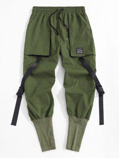 Release Buckle Strap Cargo Pants - Deep Green Xl