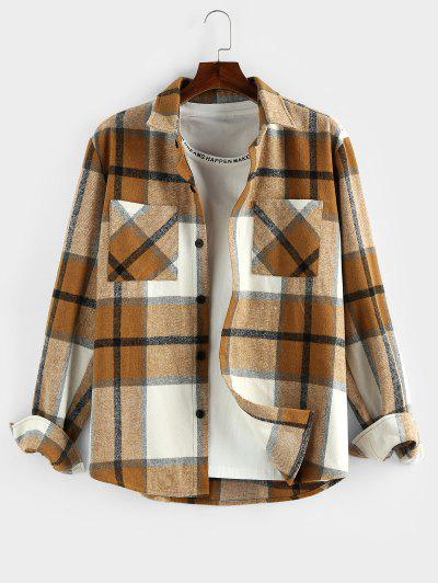 ZAFUL Plaid Print Double Pockets Wool Blend Jacket - Deep Yellow 2xl