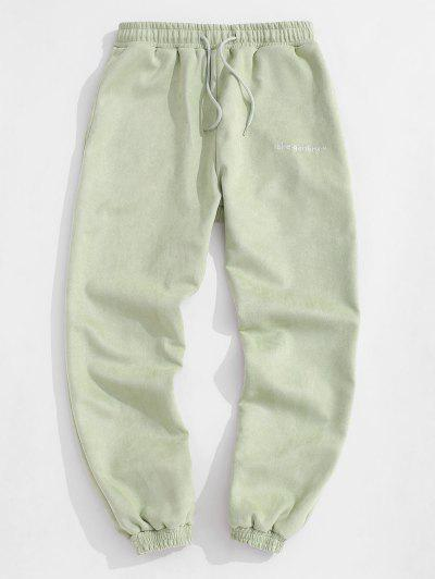 Letter Embroidered Suede Jogger Pants - Light Green Xl