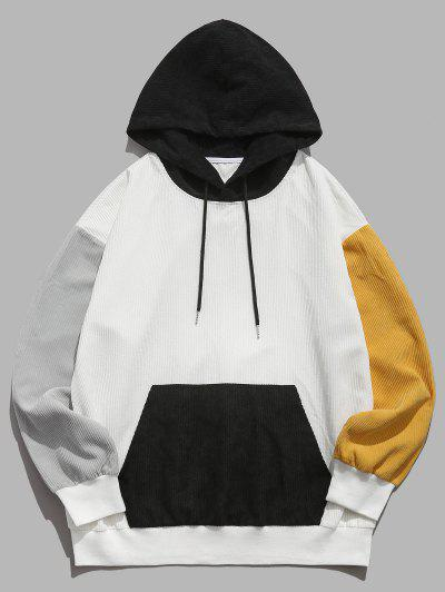 ZAFUL Colorblock Drop Shoulder Corduroy Hoodie - White L