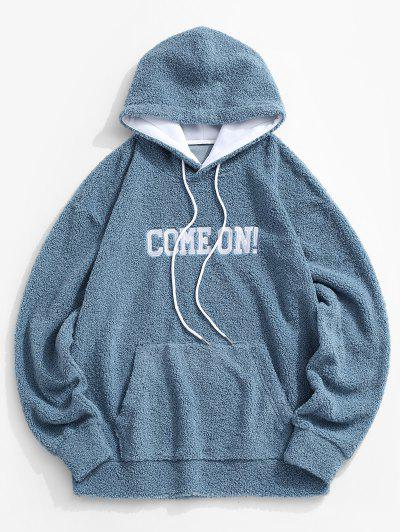 Come On Embroidery Elbow Patched Teddy Hoodie - Blue M