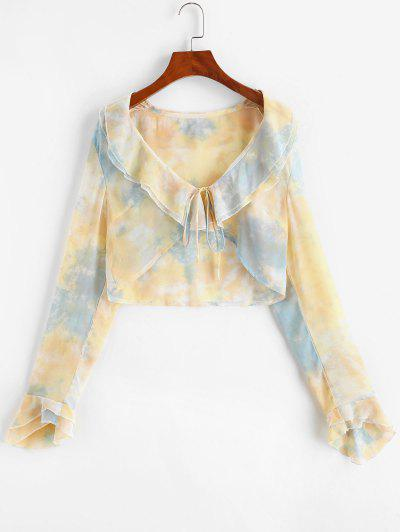 Tie Dye Ruffle Bell Sleeve Crop Blouse - Light Blue S