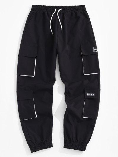 Letter Applique Multi Pockets Cargo Pants - Black L