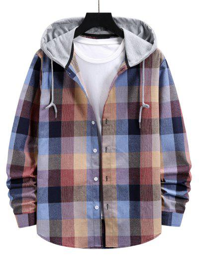 Colorblock Hood Plaid Shirt Jacket - Pink Xxl