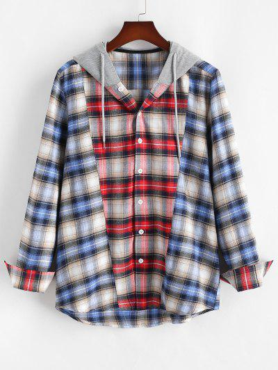 Colorblock Plaid Hooded Shirt - Red L