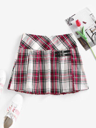 ZAFUL Plaid Buckle Embellished Pleated Mini Skirt - Multi S