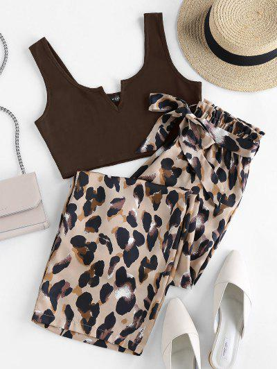 ZAFUL V Cut Leopard Wide Leg Paperbag Pants Set - Deep Coffee S
