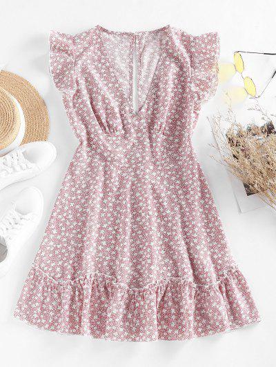 ZAFUL Ditsy Print Ruffle Plunging Mini Dress - Light Pink S