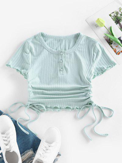 ZAFUL Ribbed Cinched Lettuce Trim Henley T Shirt - Light Green M