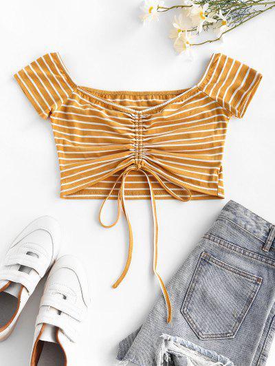 ZAFUL Cinched Stripe Cropped T Shirt - Yellow S