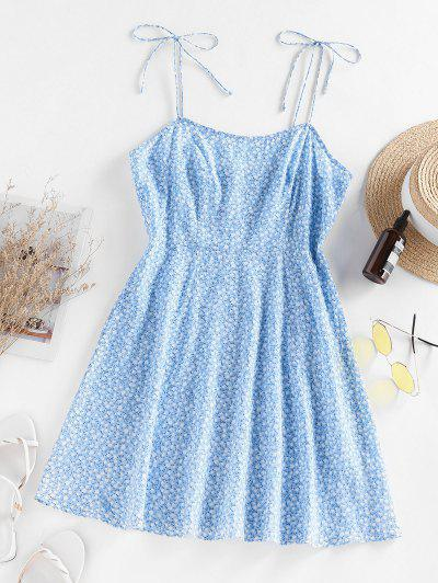 ZAFUL Ditsy Printed Slip Dress - Light Blue S