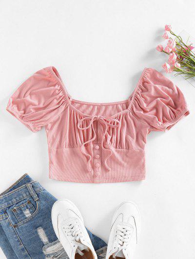 ZAFUL Ribbed Mock Button Puff Sleeve Crop T Shirt - Light Pink M