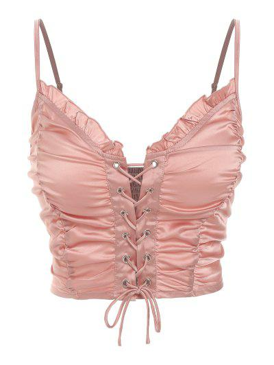 ZAFUL Ruched Lace Up Smocked Crop Top - Rose M