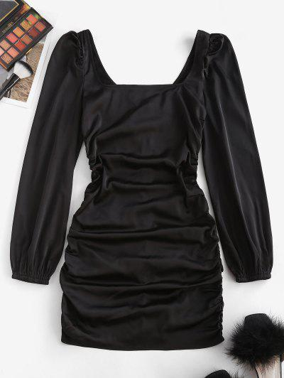 ZAFUL Ruched Square Neck Puff Sleeve Bodycon Dress - Black S