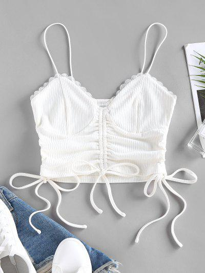 ZAFUL Ribbed Lace Insert Cinched Crop Camisole - White S