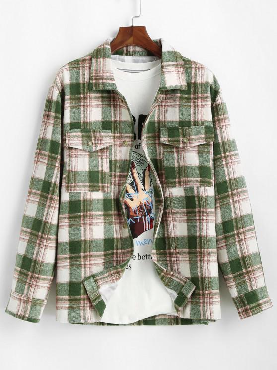 womens Plaid Pocket Button Up Wool Jacket - DEEP GREEN XL