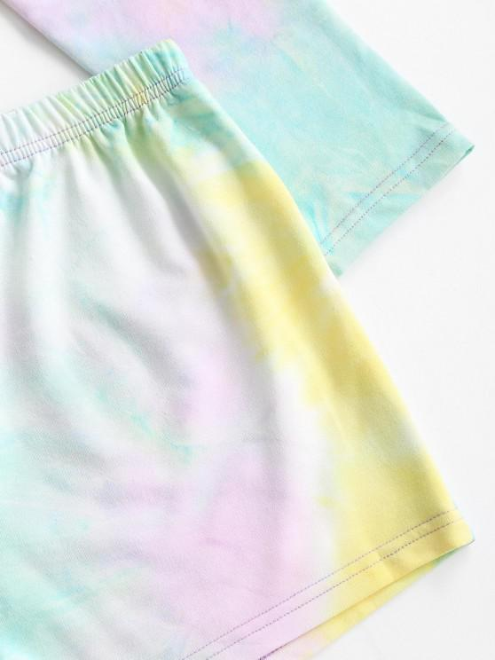 Cropped Tie Dye Raglan Sleeve Two Piece Set - Yellow M | ZAFUL