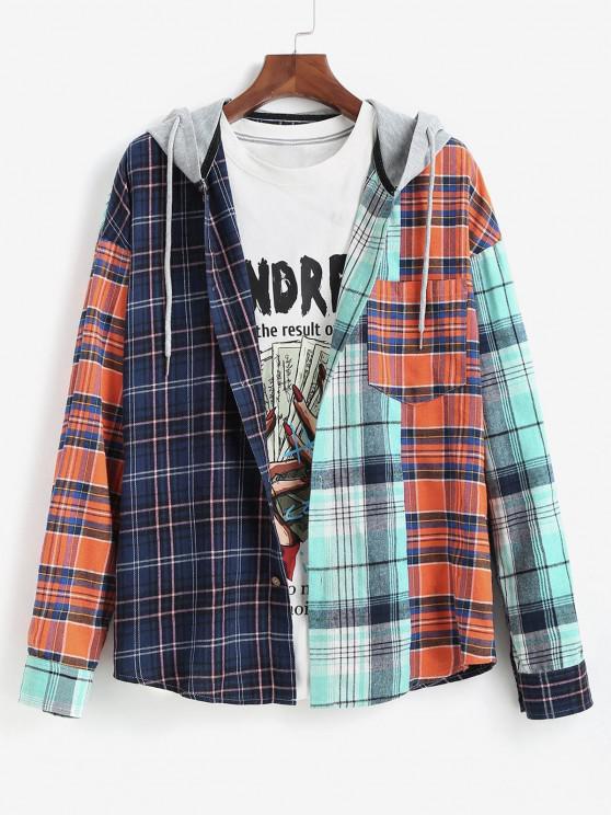 Colorblock Plaid Long Sleeve Hooded Shirt - متعدد L