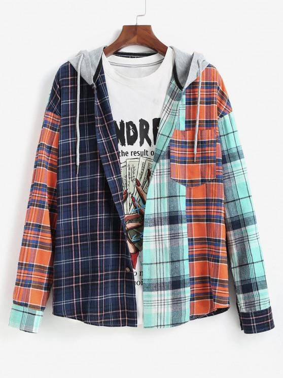 fancy Colorblock Plaid Long Sleeve Hooded Shirt - MULTI 2XL
