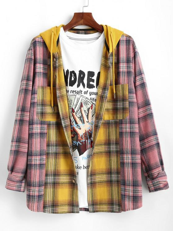 outfits Plaid Colorblock Panel Hooded Shirt - YELLOW M
