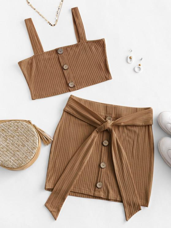 fashion ZAFUL Button Embellished Belted Bodycon Skirt Set - COFFEE L