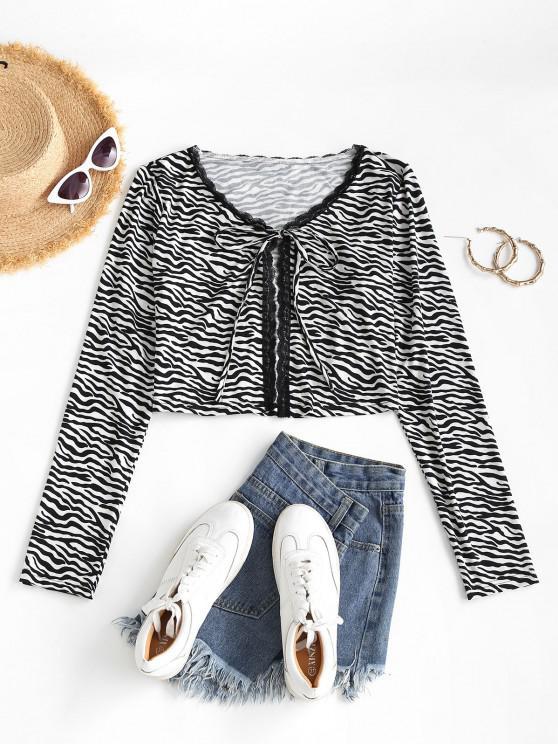 women Zebra Print Lace Trim Long Sleeve Tied Tee - BLACK S