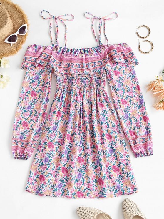 fashion Bohemian Printed Tie Cold Shoulder Ruffles Dress - LIGHT PINK L