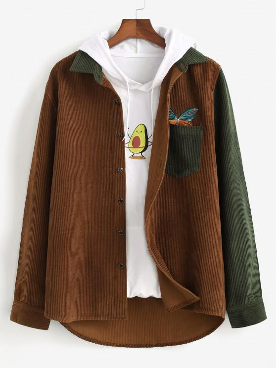 trendy Two Tone Butterfly Embroidery Corduroy Shirt - DEEP COFFEE S