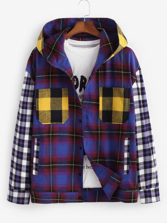 buy Colorblock Plaid Pattern Hooded Shirt - MULTI L